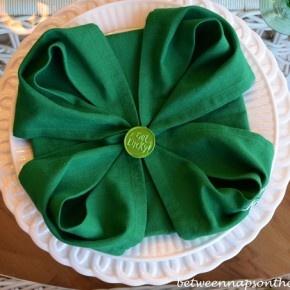 St. Patrick's Day Table Setting with Shamrock Napkin Fold