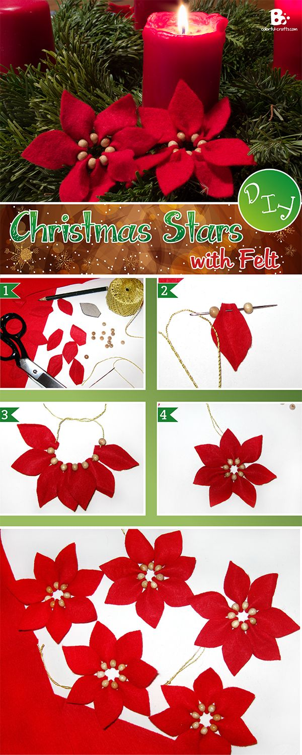 Easy #DIY Felt Christmas Star Ornament. ~ soo pretty and traditional looking