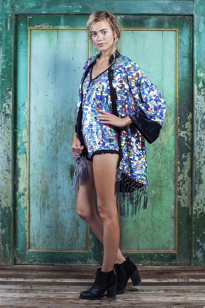 Image of PARADISO Collection | MIMOSA Sequin Kimono | hologram silver