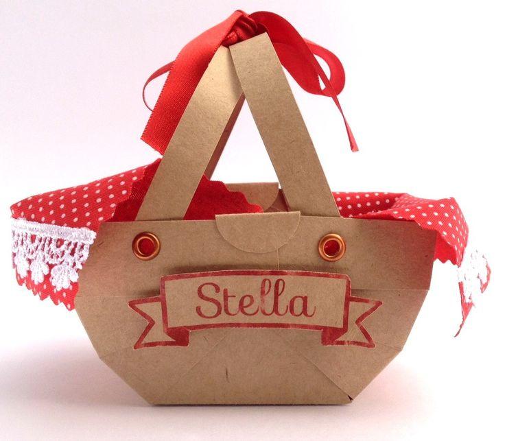 Lembrancinha Chapeuzinho Vermelho Cesta <br>Feita em papel craft, cortado em máquina. <br>Detalhes tecido temático tipo piquenique, com detalhes guipir. <br>Nome em 3D.
