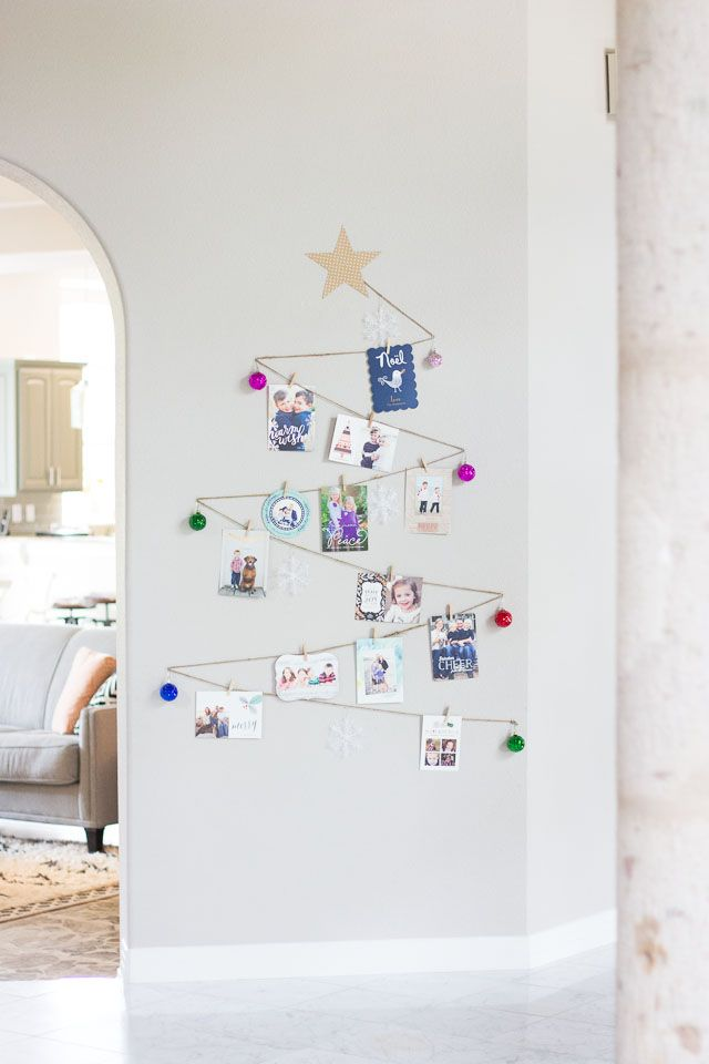 A simple way to display your holiday cards - you can make this tree as large as you want! || http://www.designimprovised.com