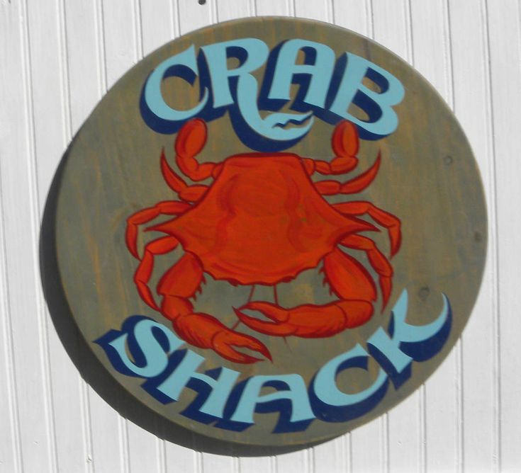 New Crab Shack Sign, ready for summer at my #etsy shop: Crab Shack Sign w/handpainted steamed crab on round wood like the bottom of a bushel basket Great gift or beach decor Porch or patio decor http://etsy.me/2n8KEef #housewares #homedecor #beachdecor #beachhouse