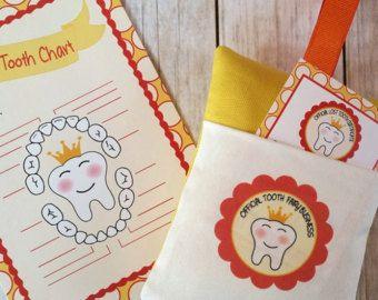 Almohada de hada de los dientes, kit de hada de los dientes, carta del diente perdido, las niñas hada de los dientes, hada de los dientes chicos, naranja hada de los dientes almohadilla, almohadilla de amarillo hada de los dientes