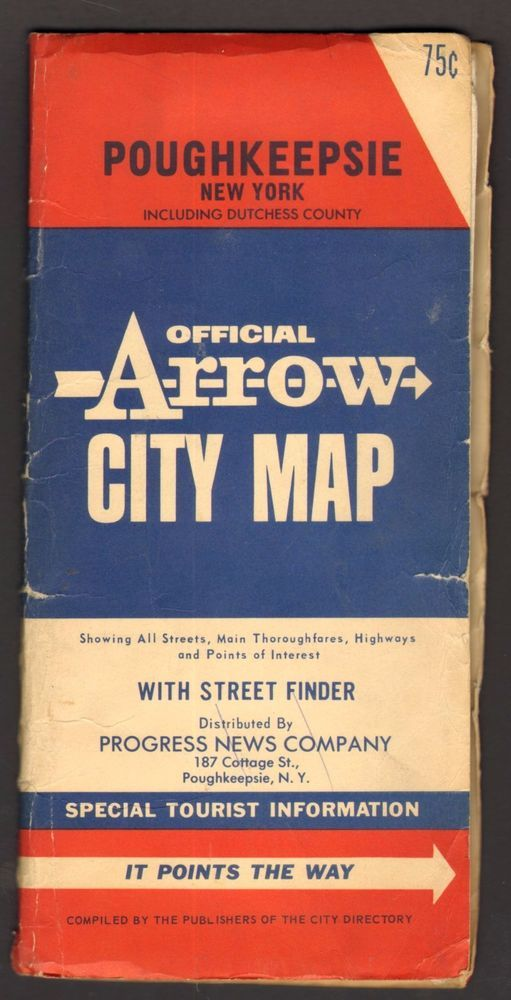 Undated Map Official Arrow City Map Poughkeepsie New York NY with street finder