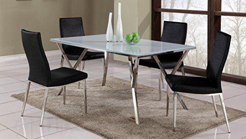 Milan Jaina Janessa 5pc Jaina Janessa Super White Chrome 5 Piece Dining Set Unique Dining Tables Dining Furniture Apartment Dining Room
