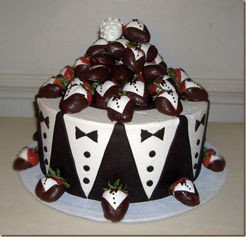 tuxedo cake with chocolate covered tuxedo strawberries
