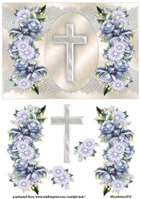 Beautiful design for a sad occasion, with gorgeous roses and lace and a cross...