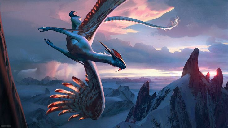 Qjutai, Soul of Winter by chasestone flying dragon winter mountains sunset monster beast creature animal | Create your own roleplaying game material w/ RPG Bard: www.rpgbard.com | Writing inspiration for Dungeons and Dragons DND D&D Pathfinder PFRPG Warhammer 40k Star Wars Shadowrun Call of Cthulhu Lord of the Rings LoTR + d20 fantasy science fiction scifi horror design | Not Trusty Sword art: click artwork for source