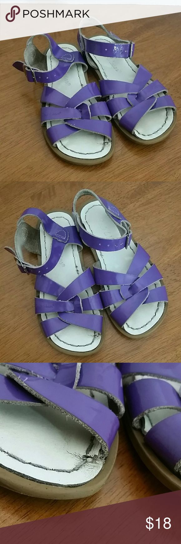 Salt water sandals Purple salt water sandals  Show signs of wear - see photos  No trades  No holds Salt Water Sandals by Hoy Shoes Sandals & Flip Flops