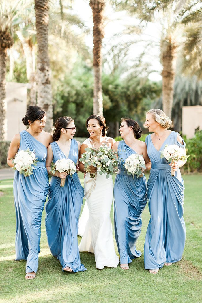 Romantic Blue Bridesmaid Dresses for a Tuscan Inspired Wedding in Dubai    #destinationwedding #dubai #internationalwedding #weddingday #weddingideas #bridesmaid #weddingdress #bridesmaids #bridesmaiddresses