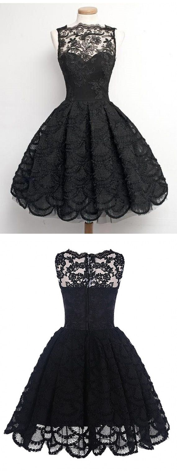 2017 prom dress, short black lace prom dress, vintage prom dress