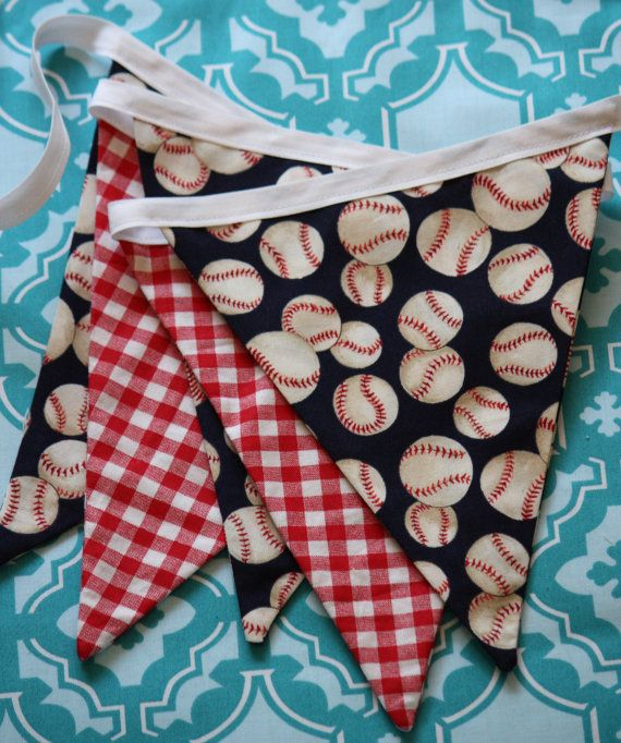 Sale Baseball Themed Bunting. Ready To Ship. Photo Prop, Nursery Decoration, Party Banner, Shower Decor. For Girls Too.... $19.00, via Etsy.