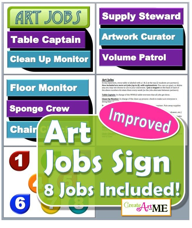 Art Jobs Printable Sign UPDATED 2016 8 Art Room Jobs included in the PDF: Table Captain, Clean Up Monitor, Supply Steward, Artwork Curator,  Volume Patrol, Floor Monitor, Sponge Crew, Chair Checker