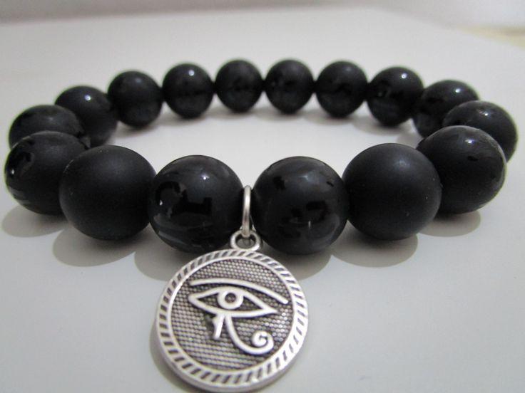 Pulsera Onix,Onix grabado,Colgante amuleto Ojo de Ra,Ojo egipcio,Pulsera piedras semipreciosas,Regalo para mujer,Pulsera protectora de Lenajoyas en Etsy