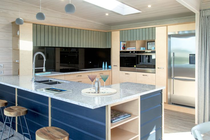 Lockwood used Finnish birch plywood in kitchen cabinet's doors and different kinds of shelves.