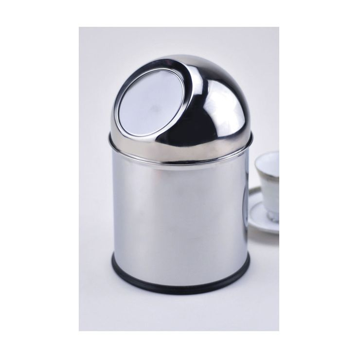 Coffee Station Stainless Steel 6.75 Inch Stainless Steel Table Top Trash Can  W/ Mirror Finish
