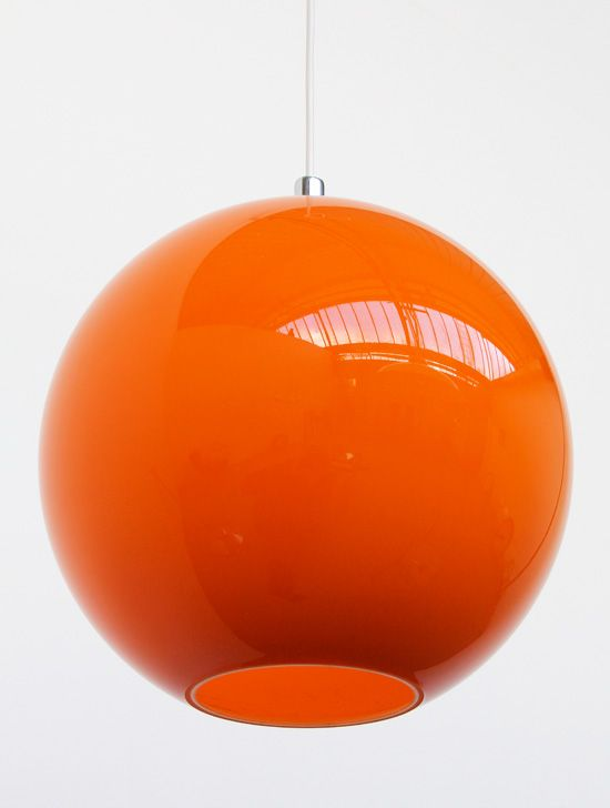 Vintage fabulous rare large glass orange globe lamp from the 60's. Orange cased glass, white interior. The bulb holder (top of the lamp shade) is chrome steel and acrylic. Perfect condition, no chips or cracks. So Cool  #LEDFilament