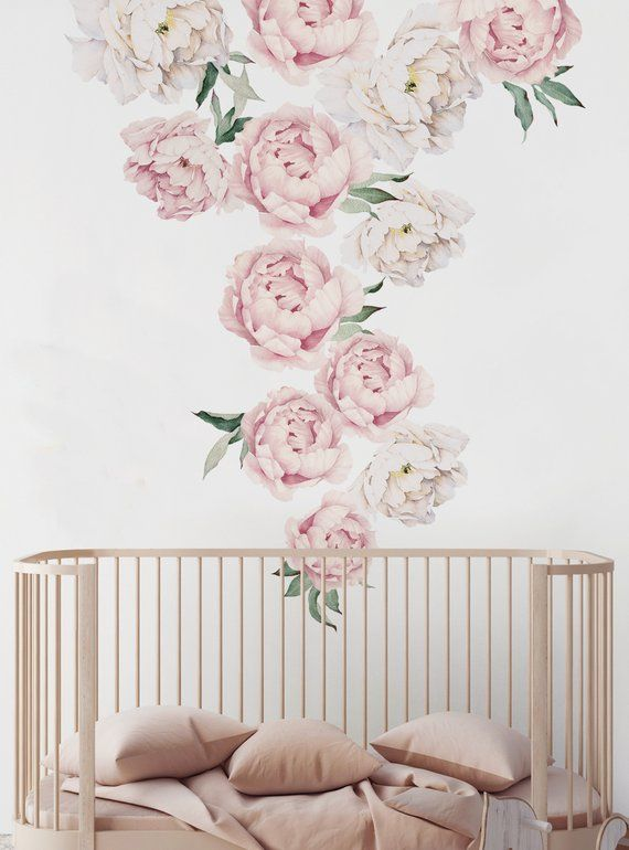 Peony Flowers Wall Sticker Vintage Pink Watercolor Peony Wall Stickers Peel And Stick Removable Stickers Large Set Wall Stickers Vintage Flower Wall Flower Wall Stickers