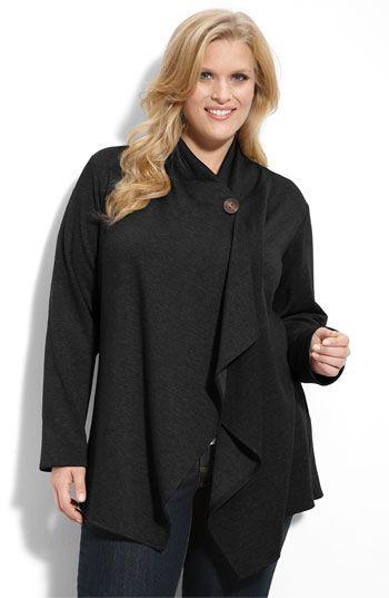Plus Size Women's Bobeau One-Button Fleece Cardigan, Size