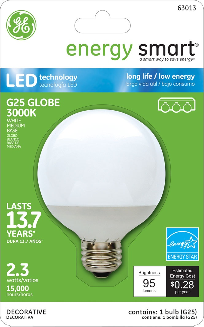 Ge Energy Smart 10w Replacement 2 3w Globe G25 Led Bulb Warm