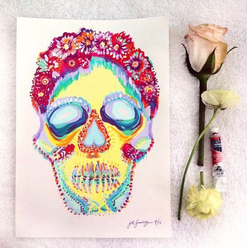 Flower Suger Skull- Bronte Goodieson