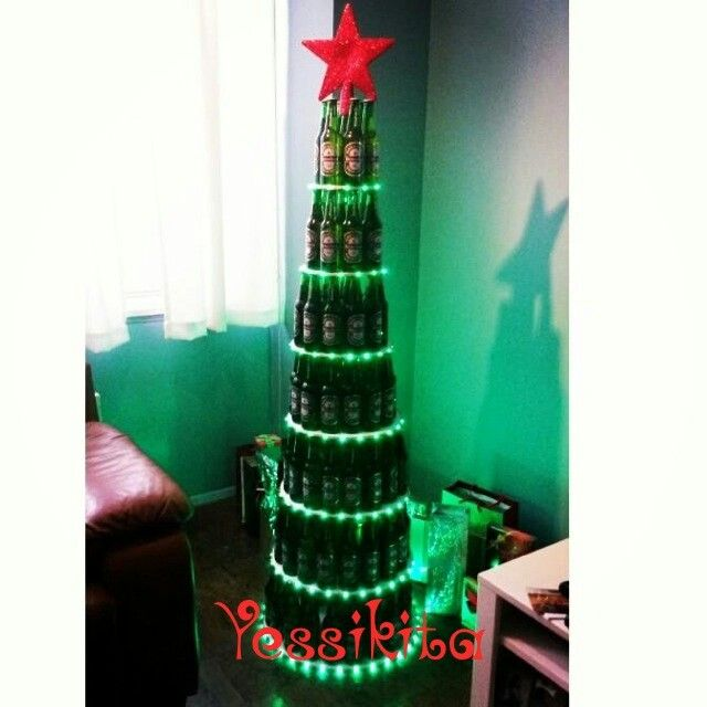 52 best images about christmas tree on pinterest for How to make a beer bottle christmas tree