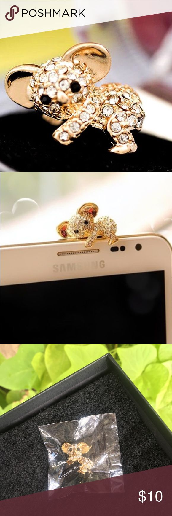 Cute koala anti-dust plug for ear jack 🐨 Adorable gold koala with rhinestones anti dust head phone jack plug. Still in package. Perfect added touch to any iPhone, android, Samsung, or iPad. 📱 offers welcome. 😊 Other