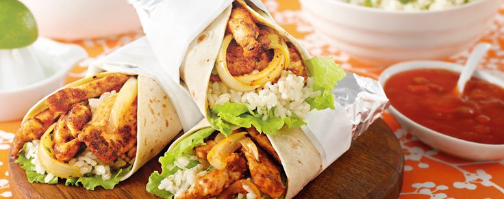 Chicken Burritos with Mexican Rice