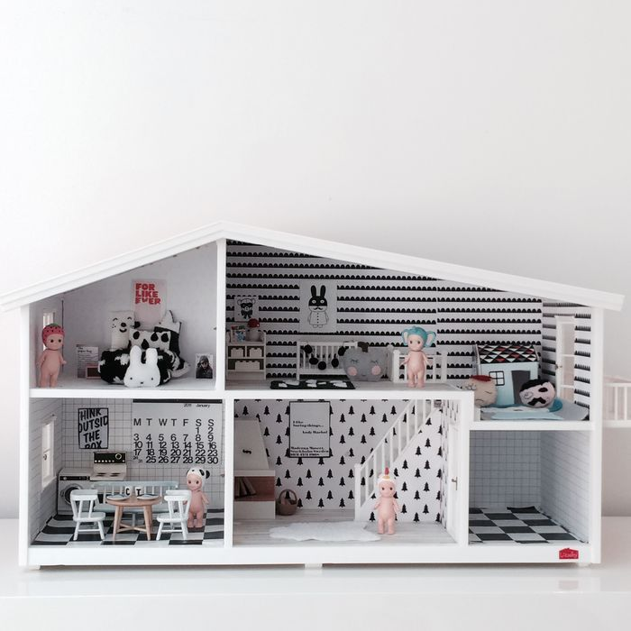 Decorate a dollhouse with style. Love the mini 'For Like Ever' poster.