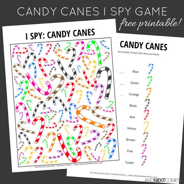 Free candy canes I Spy game for kids that's perfect for Christmas from And Next Comes L