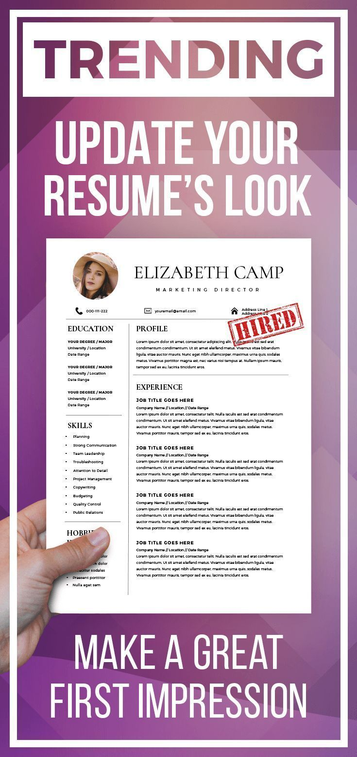 Resume Template With Headshot Photo Cover Letter 12 Page Word