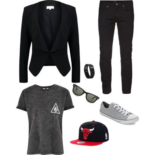 my brother outfit on promnight. by adilaanindya on Polyvore featuring polyvore fashion style Patrizia Pepe Converse Ray-Ban Fitbit