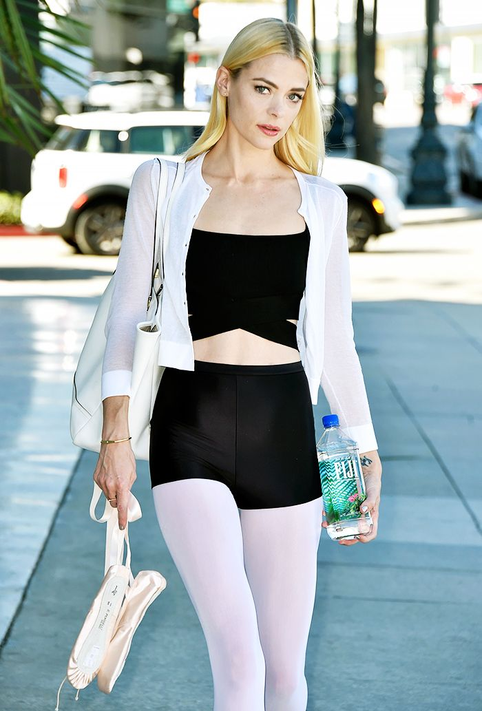 Jaime King leaving a ballet class in a white cardigan over a bra and shorts combo