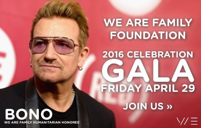 "Bono recibirá el ""We Are Family Foundation Humanitarian Award 2016"""