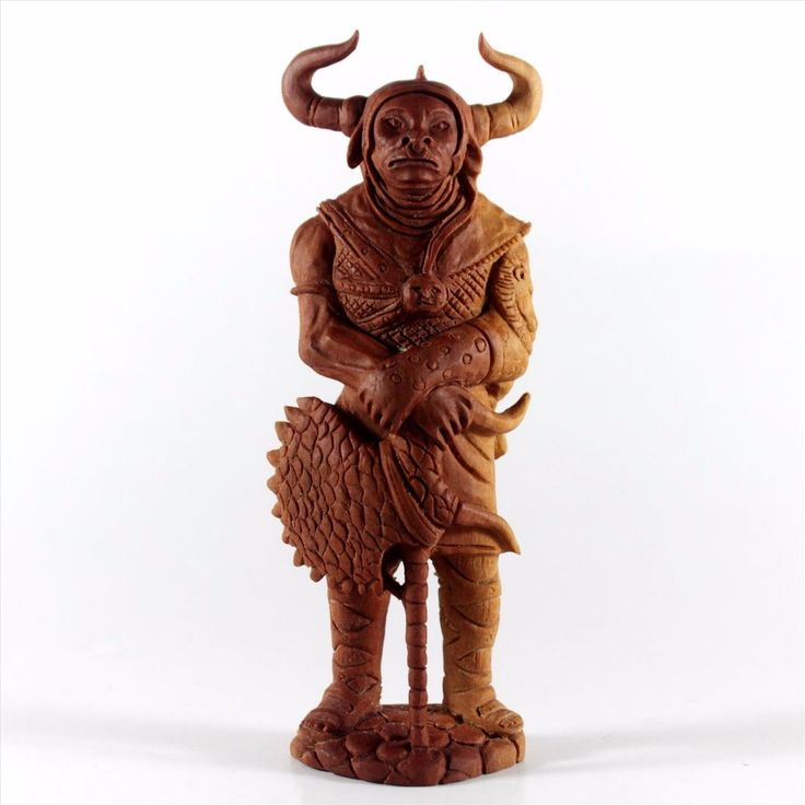 Minotaurus Mythical Figurine Wooden Carving Statue Saba Wood Sculpture