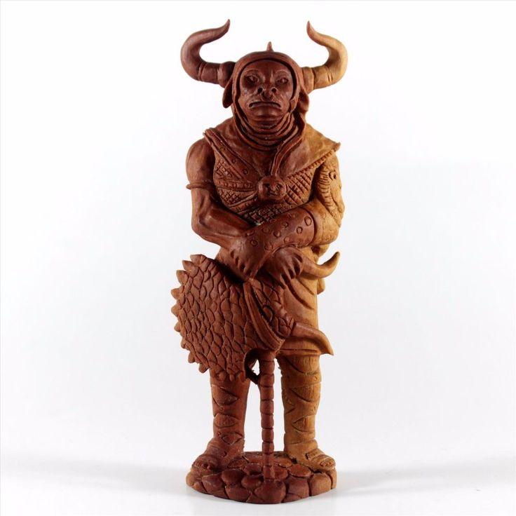 Minotaurus Mythical Figurine Wooden Carving Statue Saba Wood Sculpture