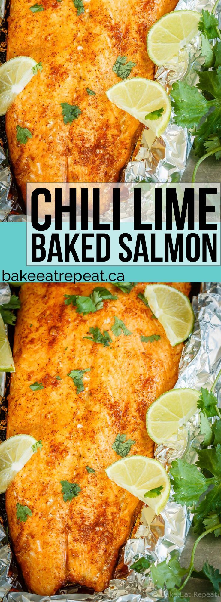 A tasty 30 minute meal that the whole family will love, this chili lime baked salmon comes together quickly and is absolutely delicious! #salmon #30MinuteMeal