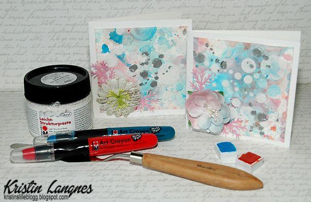 Jeg har laget to kort med Mixed Media-bakgrunn . Bakgrunnen er laget med van Gogh akvarellmaling på akvarellpapir, samt Art Crayons i f...
