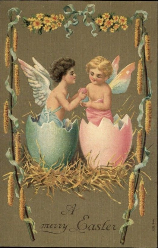 Easter Fairy Angel Egg Shells Flowers Embossed Greeting c1910 Postcard
