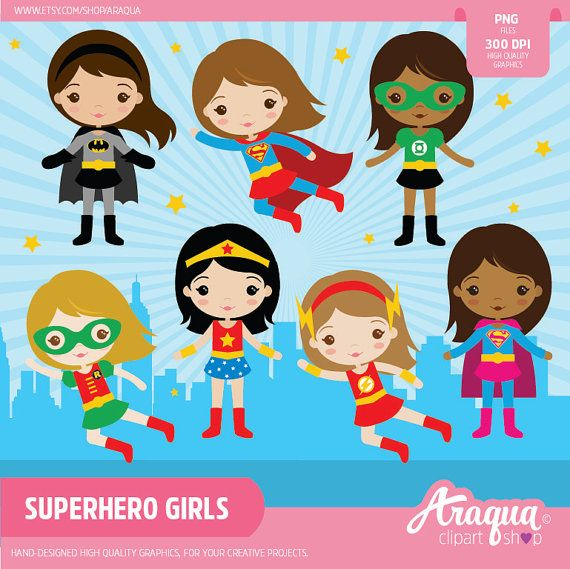 Superhero Girls Clipart Set  Instant Download  PNG by araqua