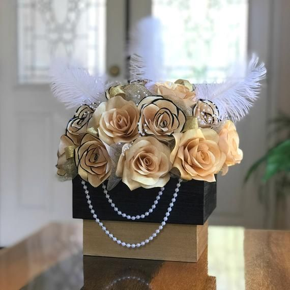 Centerpiece In Black And Gold Handcrafted Paper Flowers Black