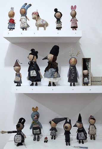 textile art and mixed media art dolls Julie Arkell contemporary fantasy figures