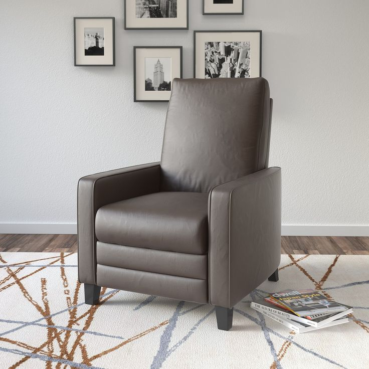 CorLiving Kelsey Bonded Leather Modern Recliner Armchair (Brown), Size Standard