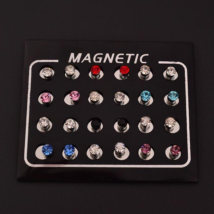 Orecchini magnetici 4 MM Nessun Foro Rotondo di Cristallo Magnete Magnetico Orecchini Per Le Donne Uomini Punk orecchini C82-C86