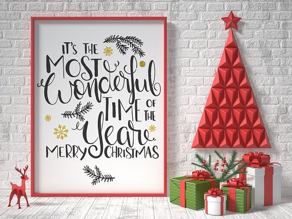 Christmas printable decor it's the most wonderful time of