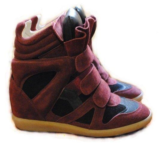 Isabel Marant Bekket High-top Suede Wine Red Black Sneakers