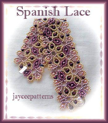 free seed bead bracelet  patterns   jayceepatterns.com: Spanish lace bracelet