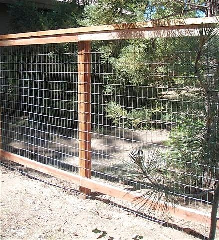 6ft redwood framed field wire fence ideas pinterest fences yards and gardens - Build wire fence foundation ...