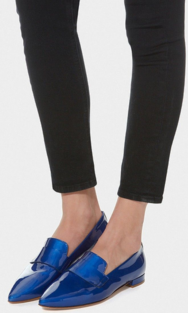The menswear-inspired loafer is back, this time with a pointed-toe and in patent leather.