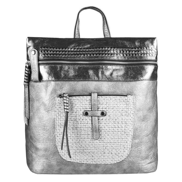 . OBC DAMEN METALLIC RUCKSACK TASCHE Cityrucksack Stadtrucksack Nieten Daypack Backpack Schultertasche Handtasche Umhängetasche Shopper…